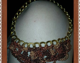 Beautiful, Crochet and Chain Necklace, Crochet jewelry, wearable crochet