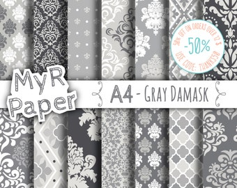"A4 - 21 x 29,7 cm - 8,3 x 11,7 inc - Digital paper: ""Gray Damask"" pack with grey damask backgrounds and patterns for any creative handiwork"