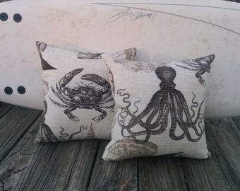 16x16 Indoor/outdoor nautical  print pillow cover with zipper