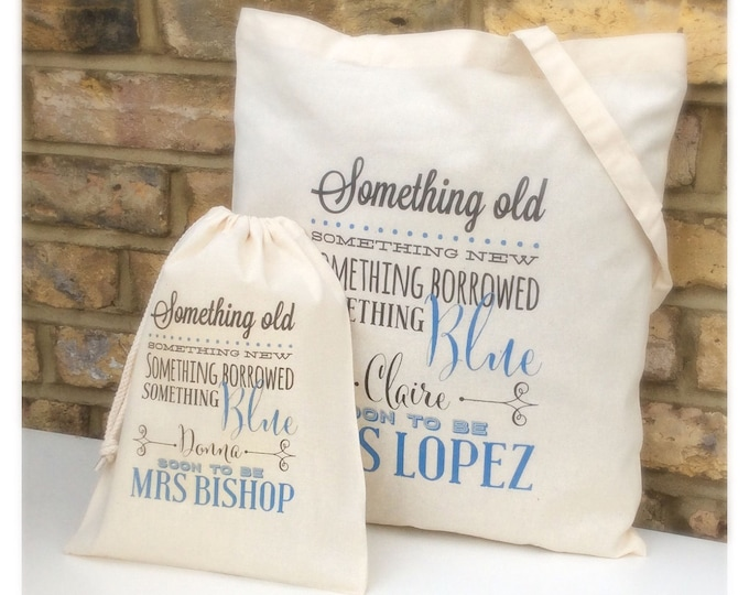 Personalised Wedding gift bag, Brides keepsake bag, tote bag, wording of your choice. Something new and blue