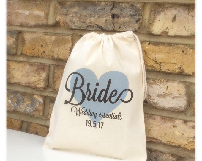 Personalised Bride Drawstring or Tote Bag, Available in any colour, Bridesmaid, Flower girl. Mother's day, Hen do, Wedding essentials tote b