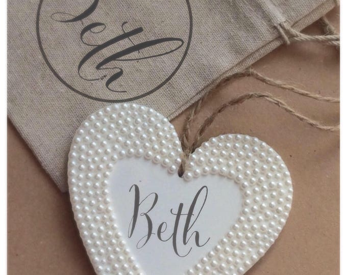 Personalised hanging heart with pearls | Any wording | wedding gift | Wooden heart | hanging hanging plaque with matching gift bag