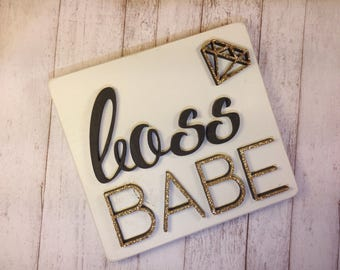 Boss Babe Diamond Laser Cut Wood Mini Sign