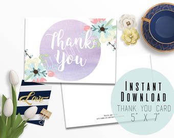 """5"""" x 7"""" Floral Watercolor Digital Card Printable - Thank You - Flower Card - Stationery Cards - Instant Download - Thank You Card"""