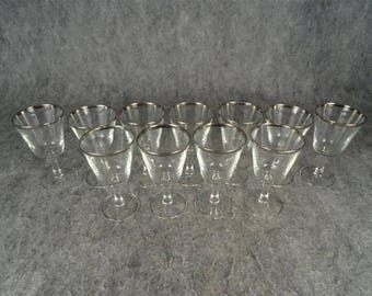 Antique Platinum Trimmed Vintage France Set Of 20 Stemware In Two Sizes