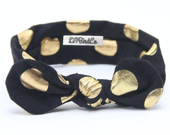 Polkadot Headband-Black & Gold