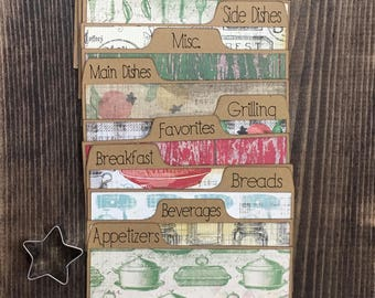 Recipe Card Dividers 3x5, 4x6, Vintage, Spoon, Fork, Mixer