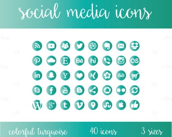 Social Media Icons Set Turquoise Blue Green Download