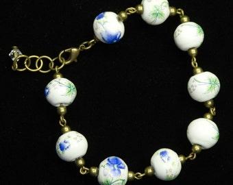 Blue And Green Floral Porcelain Bead Bracelet