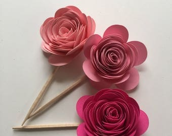 Pink Rose Cupcake Toppers // Paper Flower Cupcake Toppers // Paper Flowers
