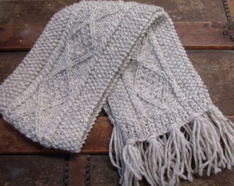 Kids Thin Oatmeal Aran Hand Knit Scarf | Beige Scarf | Kids Traditional Aran Scarf | Irish Scarf