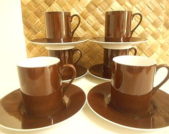 Kelco Porcelain Coffee Cups & Saucers -  Retro 60's Set of Six