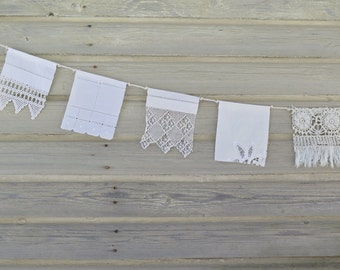 Wedding Flags, Shabby Chic, Vintage Lace, Boho Wedding, Wedding Bunting, Prayer Flags, Gypsy Decor, Upcycled, Rustic Wedding, Fabric Bunting