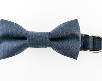 Wedding Dog Bowtie Collar Puppy Collar Dark Blue Bowtie Dog Collar Pet Bow Tie Fine Wool