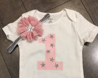 Twinkle little star bodysuit and pink and silver star headband