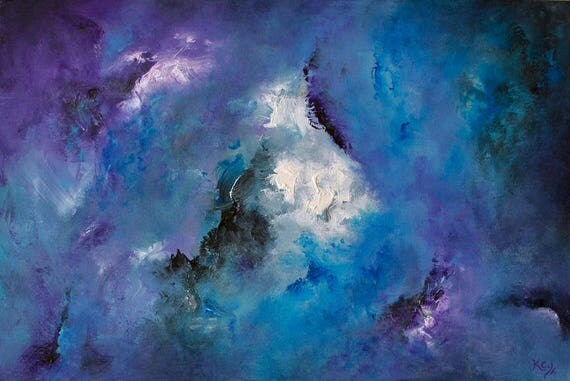 "Original Blue Abstract Painting - Blue Abstract Wall Art, Lyrical Abstract Decor. Purple & Blue Abstract Art. Original Painting ""Darkling""."