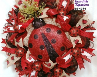 Ladybug themed burlap mesh wreath; Lady Bug Wreath;  Spring Wreath; Summer Wreath; Wreath for Doors or Walls