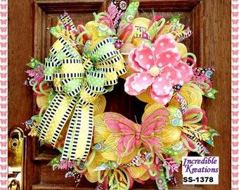 Spring and Summer Wreath; Spring Wreath; Summer Wreath; Multi-season Wreath; Wreath for Front Door; excellent gift