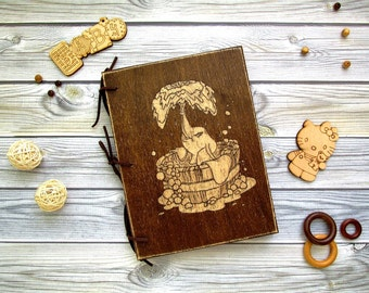 Baby Shower Guest Book, Baby Memory Book, Gift for New Parents,  Baby guest book in wooden cover, baby elephant.