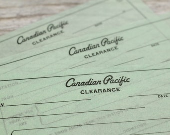 Vintage Railroad Canadian Pacific Clearance Forms Train Railway RR Ephemera Vintage