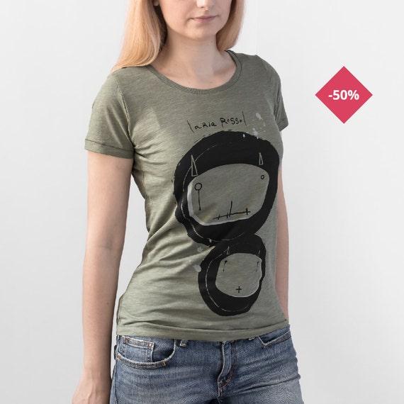 Woman Graphic Tee Organic Slub Cotton Light khaki  - Bugs...