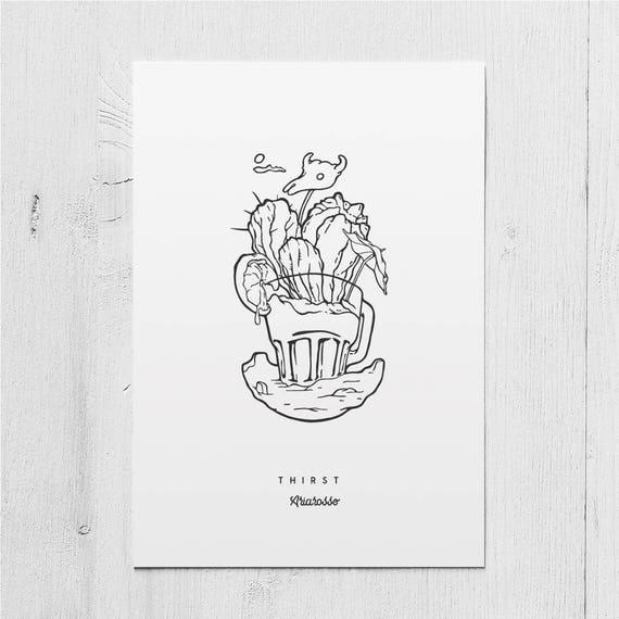 Poster Art Print - Thirst - Blackwork Series A5 Size -Desert Skull Lem...