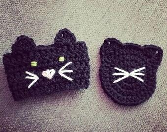 Crochet Kitty Cafe - Black Kitty Cozy & Coaster