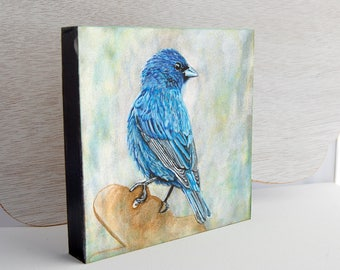 Indigo Bunting Looking Over Shoulder Print 6x6 on Wood Block Ready-to-Hang Bird Art from Original Acrylic Painting