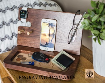 Charging Station Organizer, Mens Birthday Gift, Personalized Mens Gifts, Husbands Gift, Wood Valet, Boyfriend Gifts, Gifts For Dad.