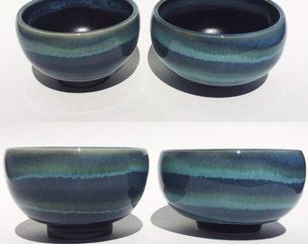 Sake Cups, Tea Bowls, Porcelain, Blue and Black