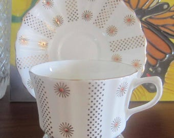Alesbury 609 with Gold Star Bursts and Dots with Hand Painted Details Bone China Tea Cup and Saucer