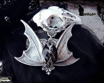 Gothic silver necklace crystal dark moon. bat wings.unique handmade glass