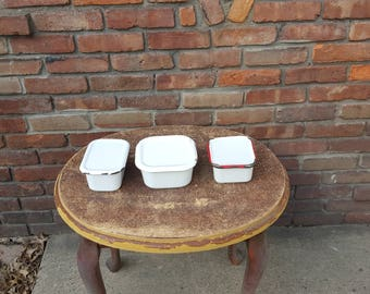 Vintage Enamel containers with lids set of 3