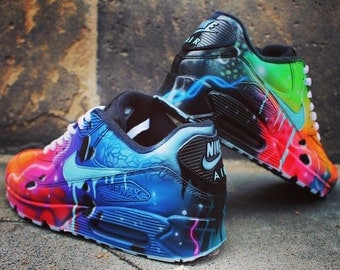 Nike Air Max 90 Blue Galaxy Style Painted Custom Shoes Sneaker Airbrush Kicks rare schuhe *UNIKAT*