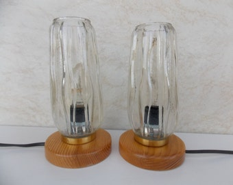 Pair Table Lamps Desk Lamps 1970s, Retro Pair lightings, Glass shades, mid century desk lamp, pair table lamp, glass lamp, night lamp