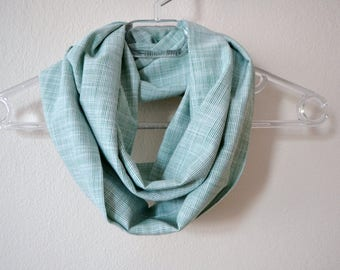 Cotton Striped Infinity Scarf in Green and White, Summer Fashion, Women Accessories, Spring, Fall