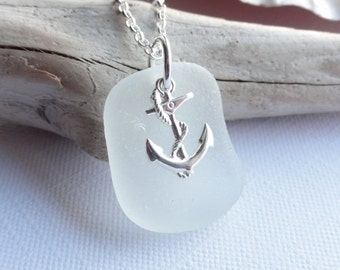 Scottish Sea Glass and Anchor Necklace - Sea Glass from Scotland - REFUSE to SINK