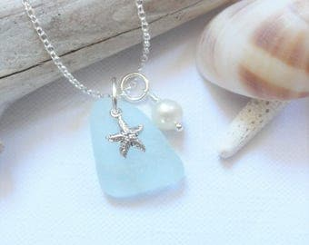 SEAGLASS & STARFISH - Scottish Sea Glass and Sterling Silver Starfish Necklace - Option to add INITIAL Disc - Sea Glass from Scotland