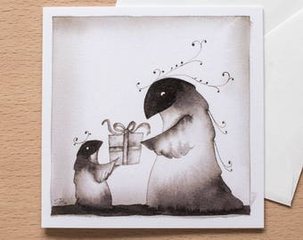 Creature's Birthday Gift - Original Greetings Card - Great for birthdays - Cute design and blank inside