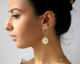 Pearl earrings dangle, Long Pearl earrings, Pearl bridal earrings, Wedding earrings pearl, Bridal pearl earrings, Bridesmaid earrings gold