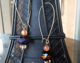 Lovely Gold and Glass Bead Kidney Wire Earrings