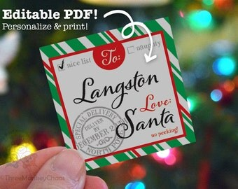 Santa Gift Tags | Printable Gift Tags | Green Stripes | Personalized Tags | Editable PDF