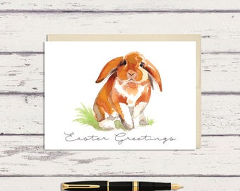 Easter Greeting Card / Orange Floppy Bunny Rabbit Watercolor Art / A7 Greeting Card / Watercolor Bunny / Bunny Card / Easter Card