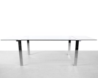 Chrome and Glass Extension Dining Table by Giulio Mancini for Tonelli
