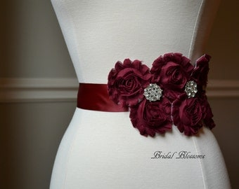 MIA Maroon Vintage Inspired Maternity Bridal Sash | Shabby Chiffon Flower Wedding Dress Sash | Belt Ribbon | Bridesmaids | Burgundy Red