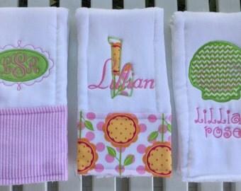 Oh So Pretty Set of 3 Burp Cloths!  Monogrammed Diaper Burp Cloths!