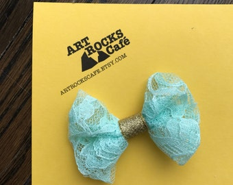 Mint Green Hair Bow, lace hairbow