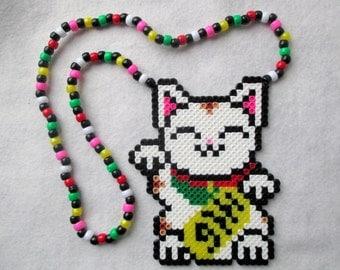 Maneki Neko Lucky Cat Kandi Perler Bead Necklace