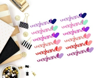 Love Weekend Stickers! Perfect for your Erin Condren Life Planner, calendar, Paper Plum, Filofax!