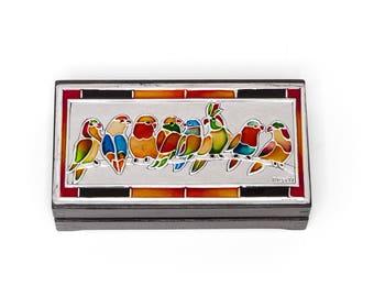 Jewelry box/Wooden jewelry box/Birds on a branch box/Wooden box/ Keepsake box/Trinket box/ Jewelry holder/Jewelry storage